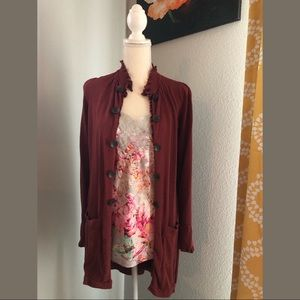 Anthropologie Knitted Dove Long Cardi